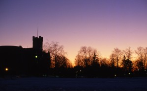 Sunrise over Queen's University Theological Hall