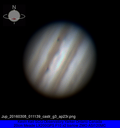 Jupiter 2016 March 08 at 01:11UT with Io and Europa transsiting